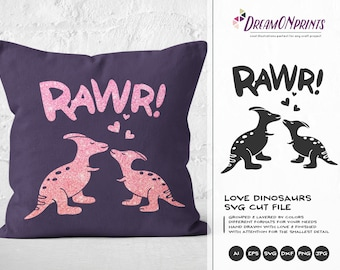 Dinosaur SVG Love Svg, Rawr Svg, Dino SVG, Love SVG Svg Files for Cricut, Silhouette Cutting Machines DOP095