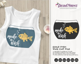 Goldfish SVG | Make a Wish | Funny SVG| Fun Cut File | Sea Life Svg Cut File | Nautical Svg