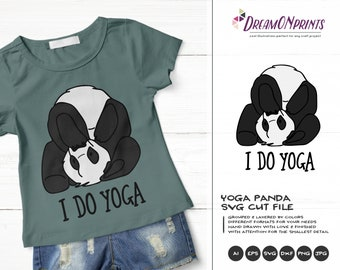 Panda SVG Yoga Svg, Panda Bear Svg, Kids SVG, Animals Svg Cute Wild Svg Cut File, Nature Svg DXF Files for Cricut or Silhouette DOP373
