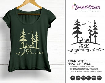 Free Spirit SVG | Forest SVG | Deer SVG Antlers | Wanderlust Illustration | Forest Svg for Cricut, Silhouette and More DOP316