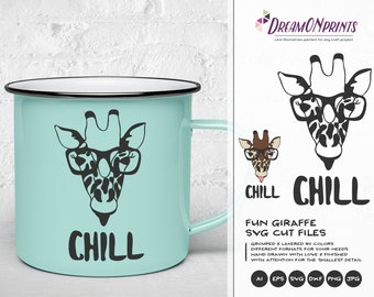 Giraffe SVG Chill, Nerd SVG, Glasses Svg Cute Wild Svg Cut File, Nature, Animals Svg DXF Files for Cricut, Silhouette DOP188