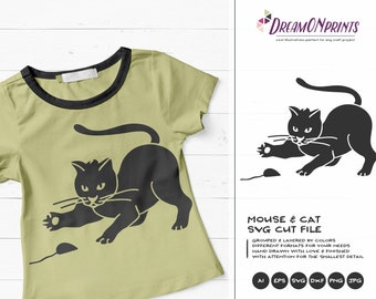 Cat SVG Mouse Svg Black Cat Svg, Fun Cat Svg, Pets SVG, Shirt Design, Glass SVG  Files for Cricut, Silhouette Cutting Machines DOP104