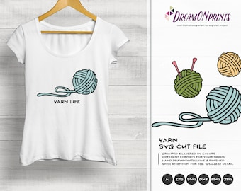 Yarn Svg, Knitting SVG, Knit Svg Knitting Eps Png, Crafters Svg Files, Crafts SVG for Cricut, Silhouette DOP116