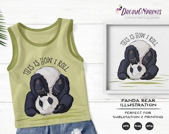 Panda Bear Illustration | Sublimation Design| Panda Bear Clipart | Kids Shirts SUBL003