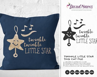Twinkle Twinkle Little Star SVG, Baby SVG, Kids svg Nursery Cut Files Svg, Stars Vector Dxf Png Eps, Svg for Silhouette, Cricut Svg DOP162