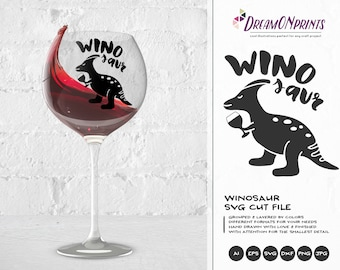 Winosaur SVG Wine Svg, Dinosaur Svg, Wine Lover SVG, Love SVG Svg Files for Cricut, Silhouette Cutting Machines DOP089
