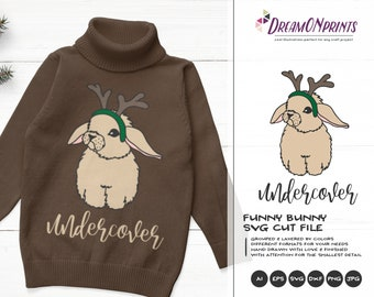 Christmas Bunny SVG | Undercover Cute Cut File Svg | Reindeer Svg | Deer Vector Bunny SVG| Baby Svg | Svg for Cricut | Christmas party Svg