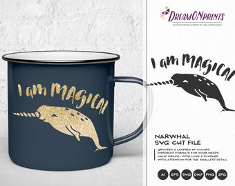 Narwhal SVG Unicorn Svg, Magical Svg, Nautical SVG, DXF, Girls Svg for Silhouette, Svg for Cricut Cut Files DOP098