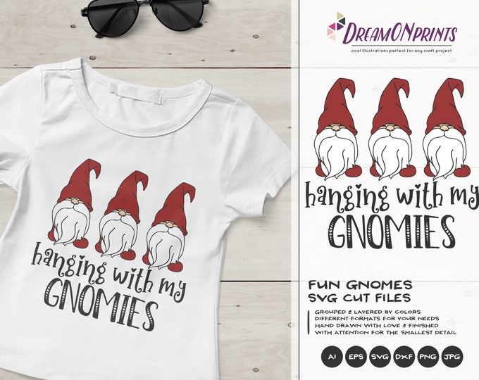 Featured listing image: Christmas Gnome SVG, Gnomies, Christmas Shirt, Holiday Gnomes, Gnome SVG, Hanging With My Gnomies Svg, Dxf for Cricut or Silhouette DOP206