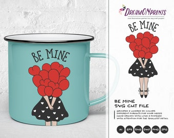 Be Mine Svg, Girl Svg Balloon Svg, Love Balloon SVG, Love Svg, Heart Svg, Valentines Day Svg for Cricut, Svg for Silhouette DOP153