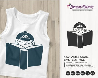 Boy with Book Svg Books Cut File | Boys SVG | Reading SVG