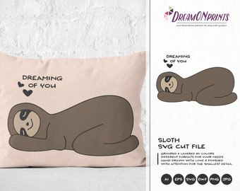 Sloth SVG Love SVG, Valentines Days Svg, Dreaming of You, Cute Sloth SVG Cut Files, Svg Cut File, Svg for Cricut, Svg for Silhouette DOP022