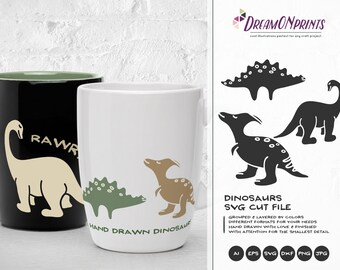 Dinosaur Svg, Dino Family SVG, Daddysaurus, Mama Saur, T Rex Svg, BabySaurus SVG Files for Cricut, Silhouette, Laser Engravement DOP141