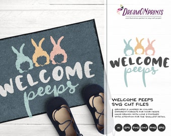 Welcome Peeps SVG Bunny Butt SVG Easter Bunny Svg Funny Easter Svg Cut Files, Bunny Svg, DXF for Silhouette, Svg for Cricut DOP283