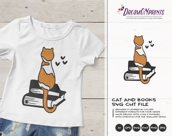 Cat Svg Books Cut File | Pet Svg | Book Nerd