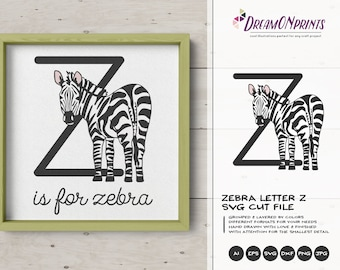 Zebra SVG Letter Z SVG | Monogram Letter Z