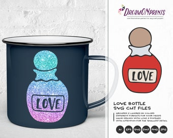 Love potion SVG, XOXO Svg, Hugs and Kisses SVg, Bottle Svg,  Heart Svg, Married Svg for Cricut, Svg for Silhouette DOP157