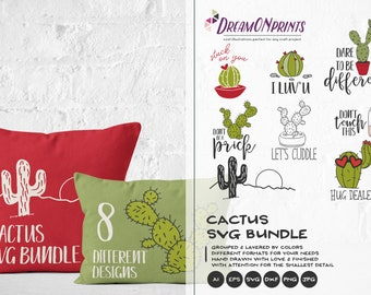 Cactus SVG Bundle, Cacti SVG Cut Files Don't Be a Prick, Don't Touch This Svg ,Cactus Dxf, Svg Files for Cricut, Silhouette Cutting Machines