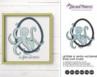 Octopus SVG | Monogram Letter O SVG Cut File