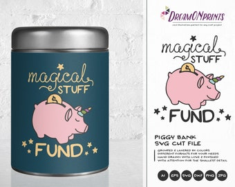 Piggy Bank SVG, Unicorn Svg, Unipig Svg Magical Stuff Svg, Savings Svg, Funds Svg Money Svg Cut Files DOP119