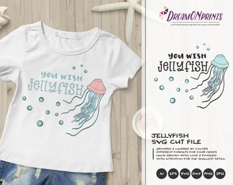 Jellyfish Illustration | Summer SVG | You Wish Jellyfish