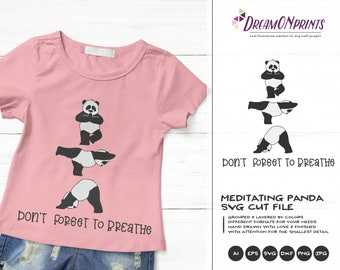 Yoga Panda SVG Funny Yoga Svg, Panda Bear Svg, Animals Svg Cute Wild Svg Cut File, Nature Svg DXF Files for Cricut or Silhouette DOP374