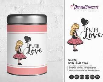 With Love SVG, Girl with Balloon Svg Love Svg, Heart Svg, Valentines Day Svg for Cricut, Silhouette Cutting Machines DOP135