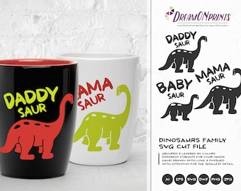 Dinosaur Svg, Dino Family SVG, Daddysaurus, Mama Saur, T Rex Svg, BabySaurus SVG Files for Cricut, Silhouette, Laser Engravement DOP093
