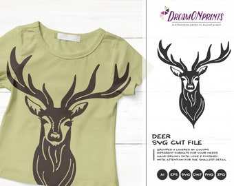 Deer SVG, Reindeer Svg Cut Files, Children Svg, Wild Svg, Animals Svg, Reindeer Dxf, DXF Files for Cricut, Silhouette Cutting Machine DOP393