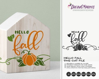 Hello Fall SVG Autumn | Fall Quote SVG Design