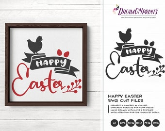 Happy Easter SVG, Hen with Eggs Svg Funny Easter Svg Cut Files, Farmhouse SVG, DXF for Silhouette, Svg for Cricut DOP282