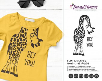 Giraffe SVG Funny Giraffes, Children Illustration, Animals Svg DXF Files for Cricut, Silhouette Cutting Machines DOP187