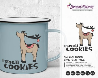 Christmas Deer SVG Funny Design | I Smell Cookies SVG | Christmas Deer Design | Funny Reindeer Cut Files