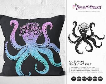 Octopus SVG Cut Files | Flowers SVG Octopus