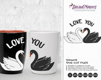 Love Swans SVG, Love Couple Svg Love Svg, Black Swan Svg, Valentines Day Svg for Cricut, Silhouette DOP178