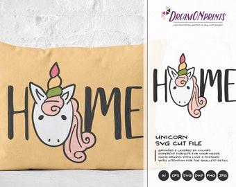 Unicorn SVG, Unicorn Cut File Svg, Home SVG Svg Unicorn Svg, DXF, Girls Svg for Silhouette, Svg for Cricut Cut Files DOP013