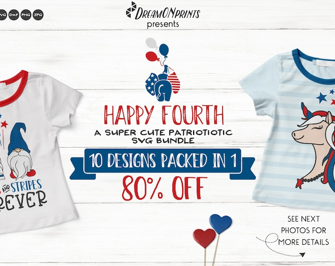 Featured listing image: Happy 4th of July | Cute Patriotic SVG Bundle for Shirts and Fun Designs