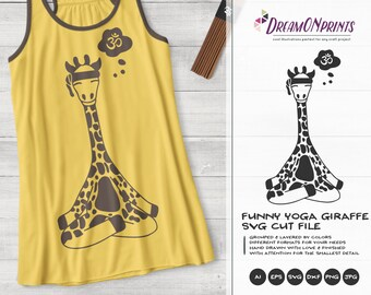 Yoga Giraffe SVG | Funny Giraffe Illustration
