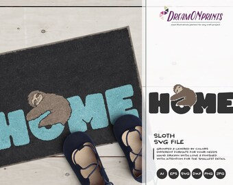Sloth SVG Home Svg Cut Files, Home SVG Sloths, DXF, Lazy Svg Animals Svg for Silhouette, Svg for Cricut Cut Files DOP034