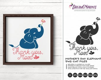 Elephant Svg Mother's Day Svg, Kids SVG, Cute Wild Svg Cut File, Nature, Animals Svg DXF for Cricut, Silhouette Cutting Machines DOP230