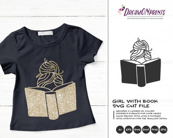 Girl with Book Svg Books Cut File | Girls SVG | Reading SVG