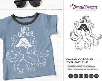 Ahoy Captain | Pirate SVG | Octopus SVG Vector