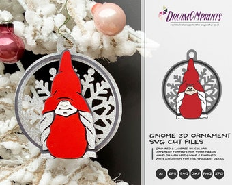 Christmas Gnome Ornament | Christmas 3D Layered Design | Paper Cut Ornament