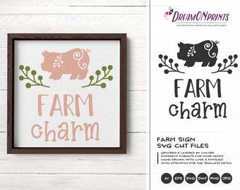 Farm Charm Svg, Pig Svg, Farm Animals Svg Cut File, Farm House Svg Files for Cutting and Printing DOP280