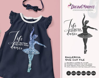 Ballet SVG, Ballerina Svg, Dancer Cut File, Girls SVG, Cutting Files For Silhouette and Cricut, Svg Files DOP002
