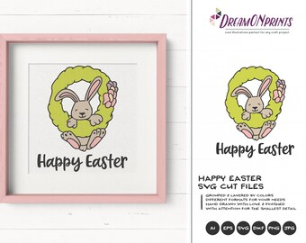 Happy Easter SVG | Easter Bunny Svg | Funny Easter Cut Files | Bunny SVG | DXF for Silhouette | Svg for Cricut