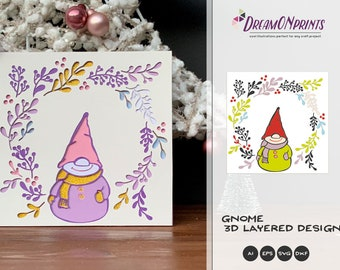 3D Gnome SVG | Christmas SVG 3D Layered Design | Laser Cut Files