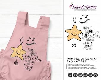 Twinkle Twinkle Little Star SVG, You are Loved SVG Baby, Kids svg Nursery Svg, Vector Dxf Png Eps, Svg for Silhouette, Cricut Svg DOP162