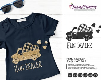 Hug Dealer SVG Truck SVG, Buffalo Plaid svg, Valentines Days Svg Retro Truck, Love Quotes, Fun SVG for Cricut, Svg for Silhouette DOP160