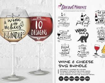 Wine and Cheese SVG Bundle, Wine SVG Cheese Svg, Wine Lover Svg, Food Svg Bundle SVG Dxf, Svg Files for Cricut, Silhouette Cutting Machines